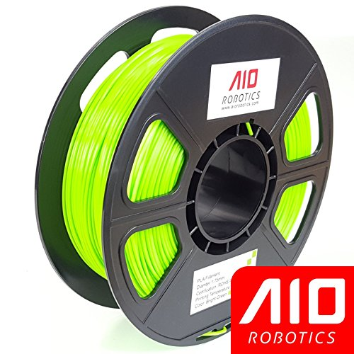 AIO Robotics AIOBRIGHTGREEN PLA 3D Printer Filament, 0.5 kg Spool, Dimensional Accuracy +/- 0.02 mm, 1.75 mm, Bright Green by AIO Robotics