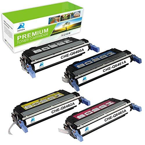 Aztech 4 Pack Color Toner Cartridges Replaces HP (644A) Q6460A Q6461A Q6462A Q6463A Used for HP Color LaserJet 4730 4730X 4730XM 4730XS CM4730 CM4730F CM4730FM CM4730FSK MFP -KCMY