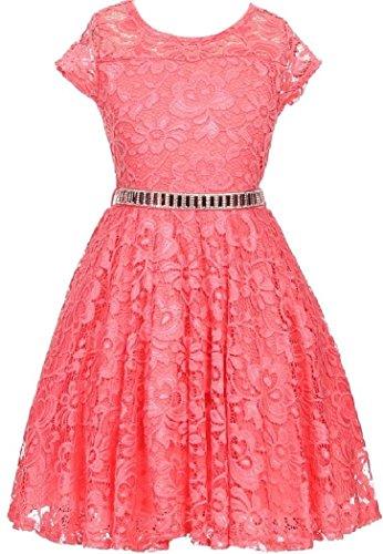 Little Girl Cap Sleeve Lace Skater Stone Belt Flower Girls Dresses (19JK88S) Coral 2