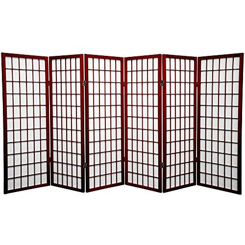 (Oriental Furniture 4 ft. Tall Window Pane Shoji Screen - Rosewood - 6 Panels)