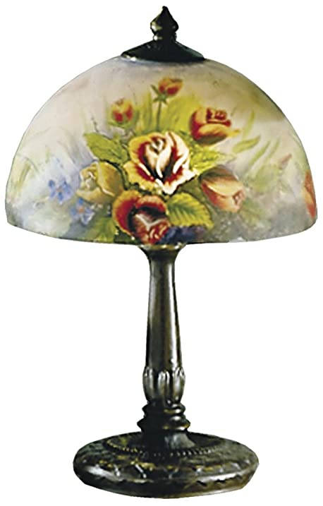 Nice Dale Tiffany 10057/610 Rose Dome Table Lamp, Antique Bronze And Glass Shade