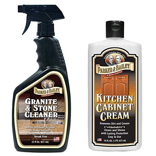 Parker and Bailey Granite & Stone Cleaner Bundled with Kitchen Cabinet Cream- Countertop Cleaner and Wood Cleaner- Cleans Stone and Cleans Wood- Kitchen Cleaner Combo