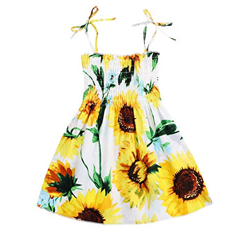 Kids Toddler Baby Girls Summer Dress Outfits Ruffle Strap Sunflower Print Tutu Skirt Sunsuit Beachwear Clothes Set (White Sunflower, 4-5 Years)