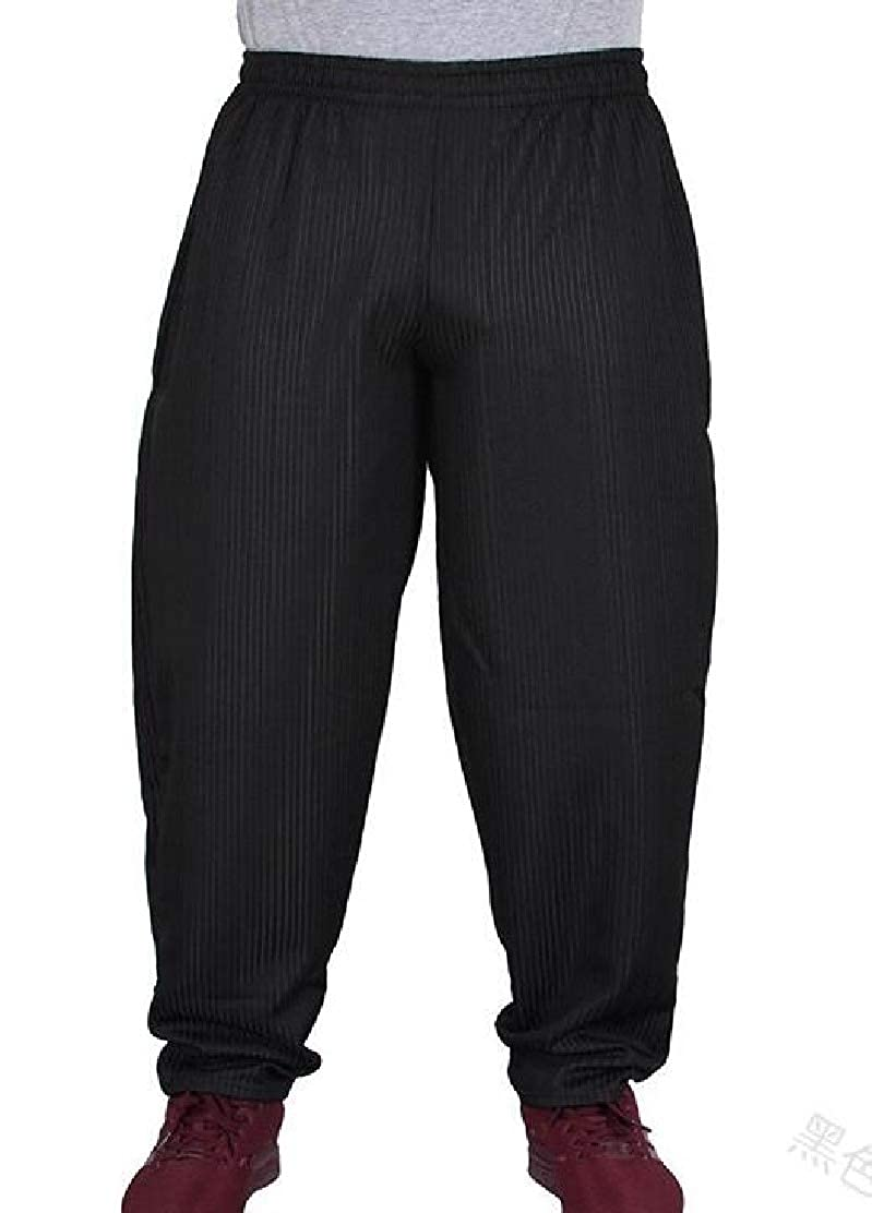 JXG Men Summer Fashion Leisure Striped Mid Waist Stitching Baggy Trousers