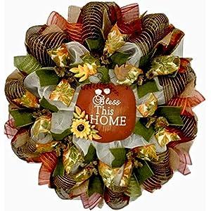 Bless This Home Apple Handmade Autumn Deco Mesh Wreath 107