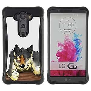 iKiki Tech / Estuche rígido - Wolf Bar Fight Forest Animal Dog Drawing - LG G3