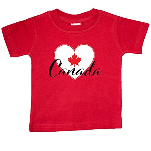 inktastic Canada-Heart and Maple Leaf Baby T-Shirt 24 Months Red