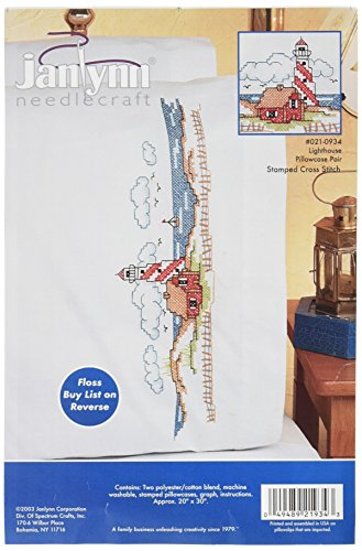 Cross Stitch Lighthouses - Janlynn Stamped Cross Stitch Kit, Lighthouses Pillowcase Pair