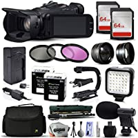 Canon XA25 Professional Camcorder Video Camera + 128GB Memory + Travel Charger + 3 Filters + 2 Batteries + Opteka X-Grip + LED Light + Microphone + Monopod + Large Case + Dust Cleaning Kit + More