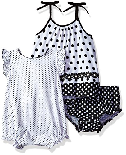 Youngland Baby Girls' 3 Pc Set, Knit Creeper Onesie, Dress, and Diaper Cover Short, White/Black, 12M (Shorts Onesie With)