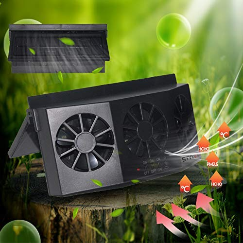STYLOOC Solar Powered Car Window Windshield Auto Air Vent Fan Auto Ventilator System,Exhaust Fan Vehicle Radiator Vent with Ventilation(Black)