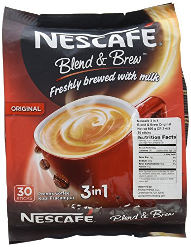4-PACK Nescafe 3-in-1 Original Blend and Brew Premix Instant Coffee (112 Sticks) (Coffee Instant Nestle)