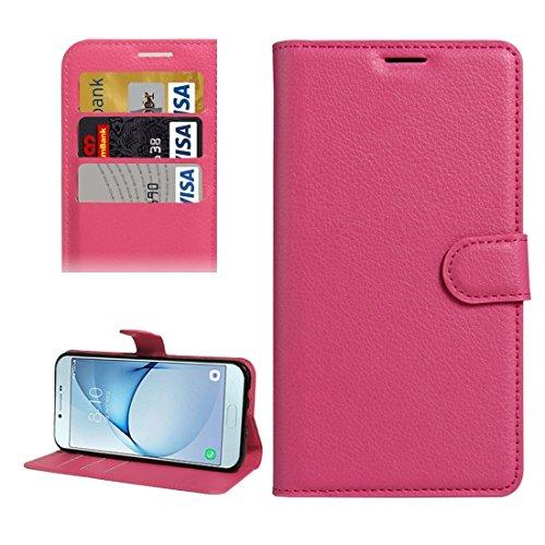 Fashion & personality Para la galaxia A8 (2016) / A810 Lichí de la textura de Samsung flotan la caja de cuero de la PU del tirón con el sostenedor y las ranuras para tarjeta y la carpeta ( Color : Bla Magenta