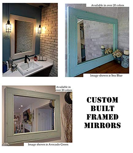 bone Reclaimed Wood Framed Mirror - Made to Order Custom Size - 20 Paint Colors - Custom Made Rustic Home Decor Mirror ()