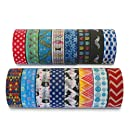Premium Washi Masking Tape Collection (SET OF 16) by Kimono Tape - Vibrant Decorative Japanese Paper Tapes - Special Edition II