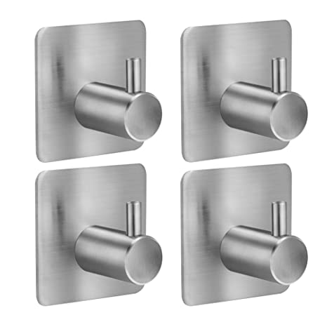 4 Piezas Ganchos Adhesivos ,ToHa Gancho de Baño Perchero de Acero Inoxidable Colgadores de Puerta