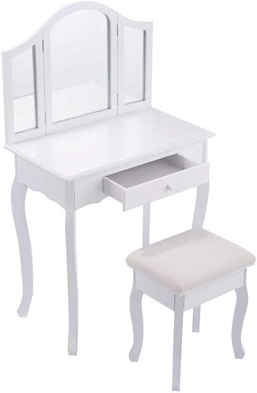 Amazon.com: White Makeup Vanity Table and Stool Set Modern ...