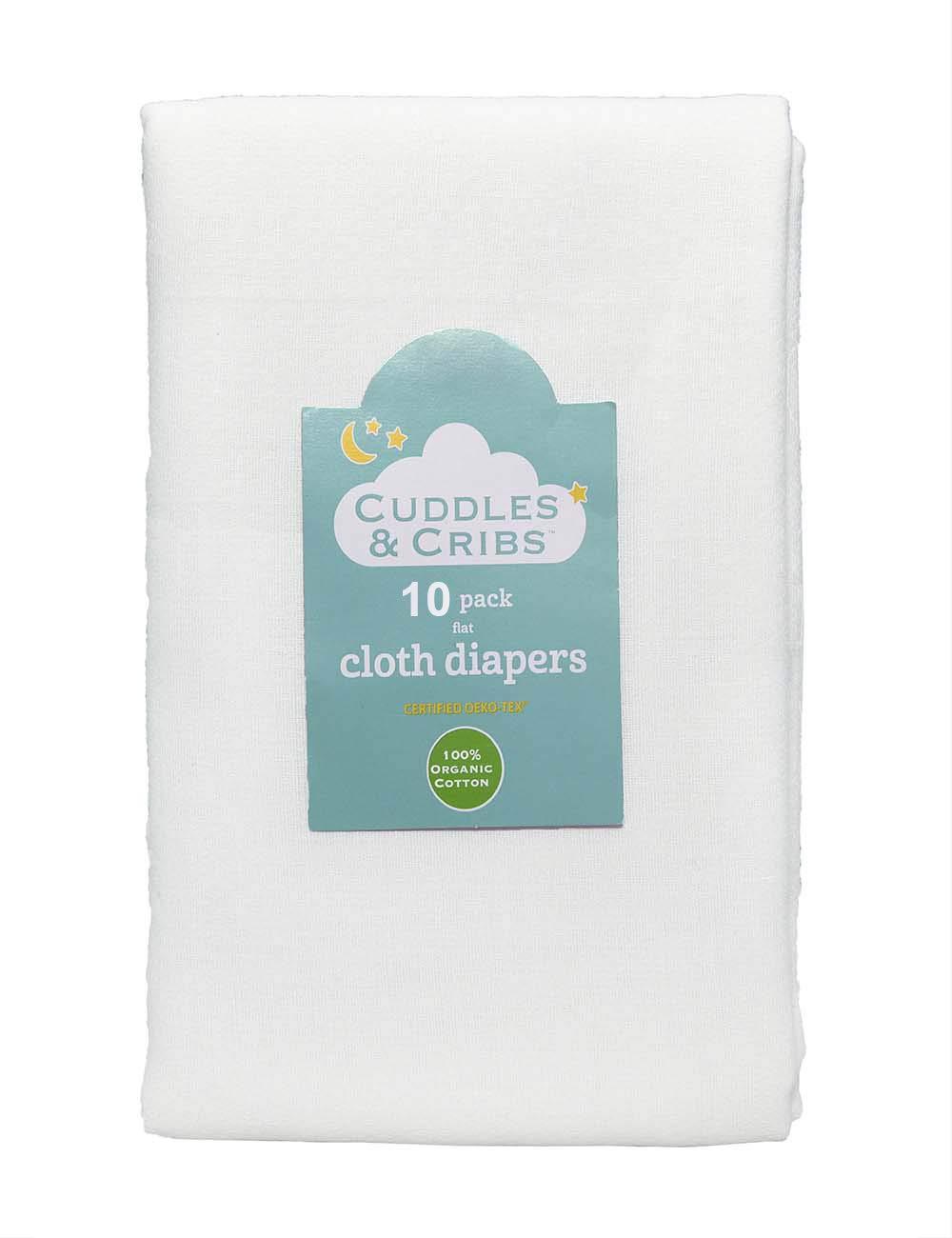 Cuddles & Cribs Cotton Cloth Diapers/Burp Cloth - 10 Count, Flat (24 x 27 Inch) by Cuddles & Cribs