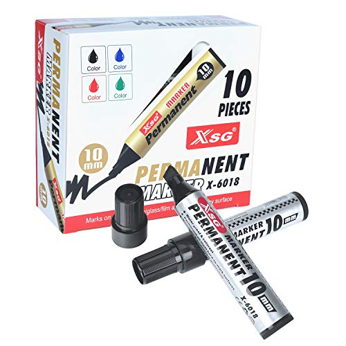 XSG Jumbo Extra Wide chisel point Permanent Marker, Black, 10 Pack (X-6018),3/8