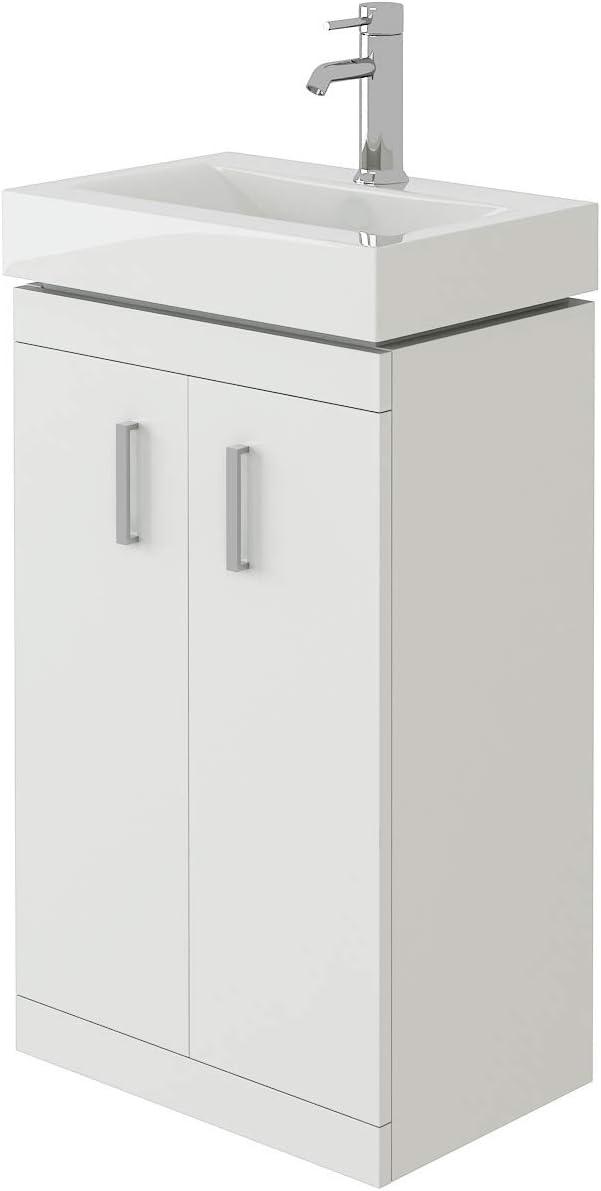Chatham NCLW100 450mm Bathroom Floor Standing Two Soft Close Door Gloss White Storage