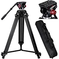 AW 72 Pro Portable DV Video Camera Tripod Steady Stand Fluid Damping Head Kit w/ Bag 33lbs Capacity