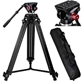 AW 72'' Pro Portable DV Video Camera Tripod Steady Stand Fluid Damping Head Kit w/ Bag 33lbs Capacity