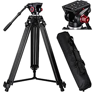 "AW 72"" Pro Portable DV Video Camera Tripod Steady Stand Fluid Damping Head Kit w/ Bag 33lbs Capacity"