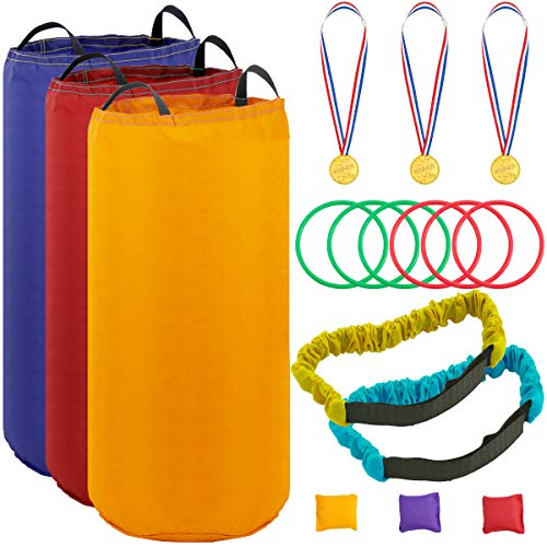 - Apipi Potato Sack Race Bags Outdoor Game Set, Includes 3 Pack Solid Color Potato Sack Race Bags, 2 Pack 3 Legged Race Bands, 3 Bean Bags, 3 Plastic Medals and 6 Toss Rings for Kids&Adult (Solid)