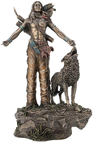Native American Warrior Praying Statue Sculpture Figurine