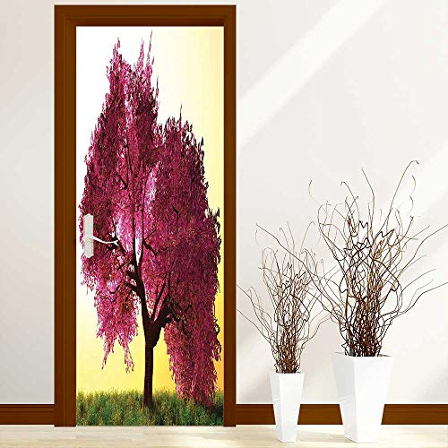 Art Door Decals Collection Mystical Majestic Pink Cherry Blossom Tree Floral Leaves Asian Nature in Golden for Door/Bathroom/Office W23 x H70 inch