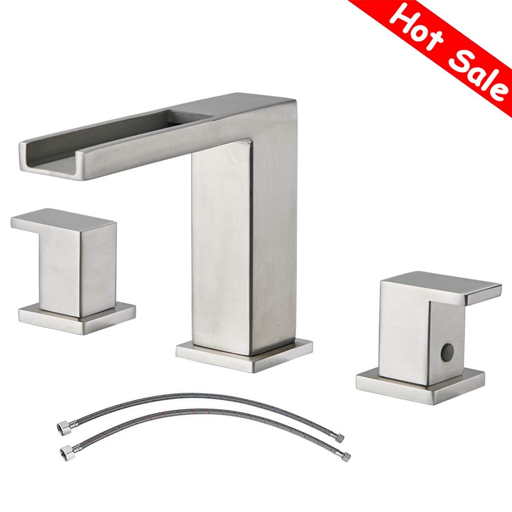 Waterfall Stainless Steel Two Handle Three Hole Widespread Bathroom Faucet, Brushed Nickel Bathroom Sink Faucet With Hoses by Ufaucet