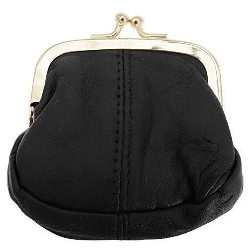 Womens/Ladies Soft Leather Coin Purse With Metal Clasp (One Size) (Black)