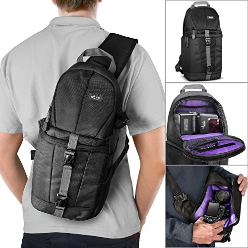 Altura Photo Camera Sling Backpack for DSLR and Mirrorless Cameras (Canon Nikon Sony Pentax) + MagicFiber Microfiber Lens Cleaning Cloth