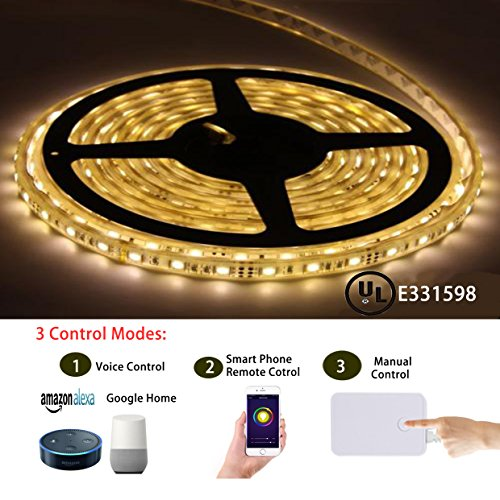 Smart Led Light Strip, Cxy Led Light Strip Kit 5050 Waterproof IP65 LED Lights, Dimmable and Color Change, Working with Android and Ios System and Alexa (16.4 ft with 300 leds).