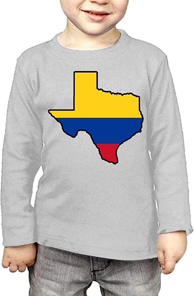CERTONGCXTS Childrens Colombia Flag Texas Map ComfortSoft Long Sleeve Shirt