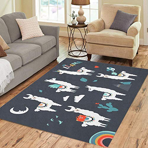 Semtomn Area Rug 5' X 7' America Llama Alpaca Collection Cute and for Nursery Birthday Home Decor Collection Floor Rugs Carpet for Living Room Bedroom Dining Room