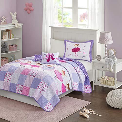 Mi Zone Kids Twirling Tutu Twin Bedding For Girls Quilt Set - Purple Pink , Princess - 3 Piece Kids Girls Quilts - Ultra Soft Microfiber Quilt Sets Coverlet