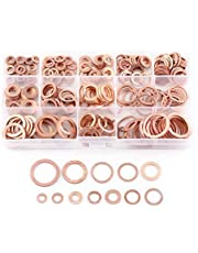 280 Pcs 12 Size Flat Ring Copper Washer Assortment Flat Washers Kit Seal Flat Ring -M5 M6 M8 M10 M12 M14 M16 M20, Automotive Hardware Accessories with Case