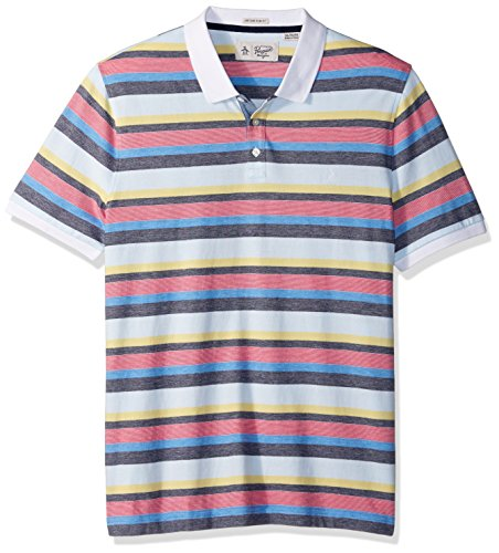 Original Penguin Men's Short Sleeve Birdseye Striped Polo, French Blue, XX-Large (Penguin Striped Polo Shirt)