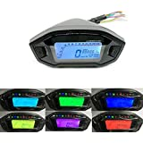 Ocamo Velocímetro Cuentakilómetros para Motocicleta-Retroiluminación,12V Universal,LCD Digital 13000rpm