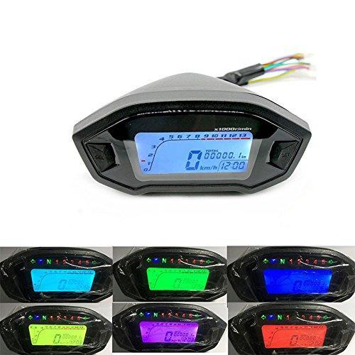 ZANTEC Contachilometri del motociclo della retroilluminazione del tachimetro di Digital 13000rpm del motociclo universale di 12V
