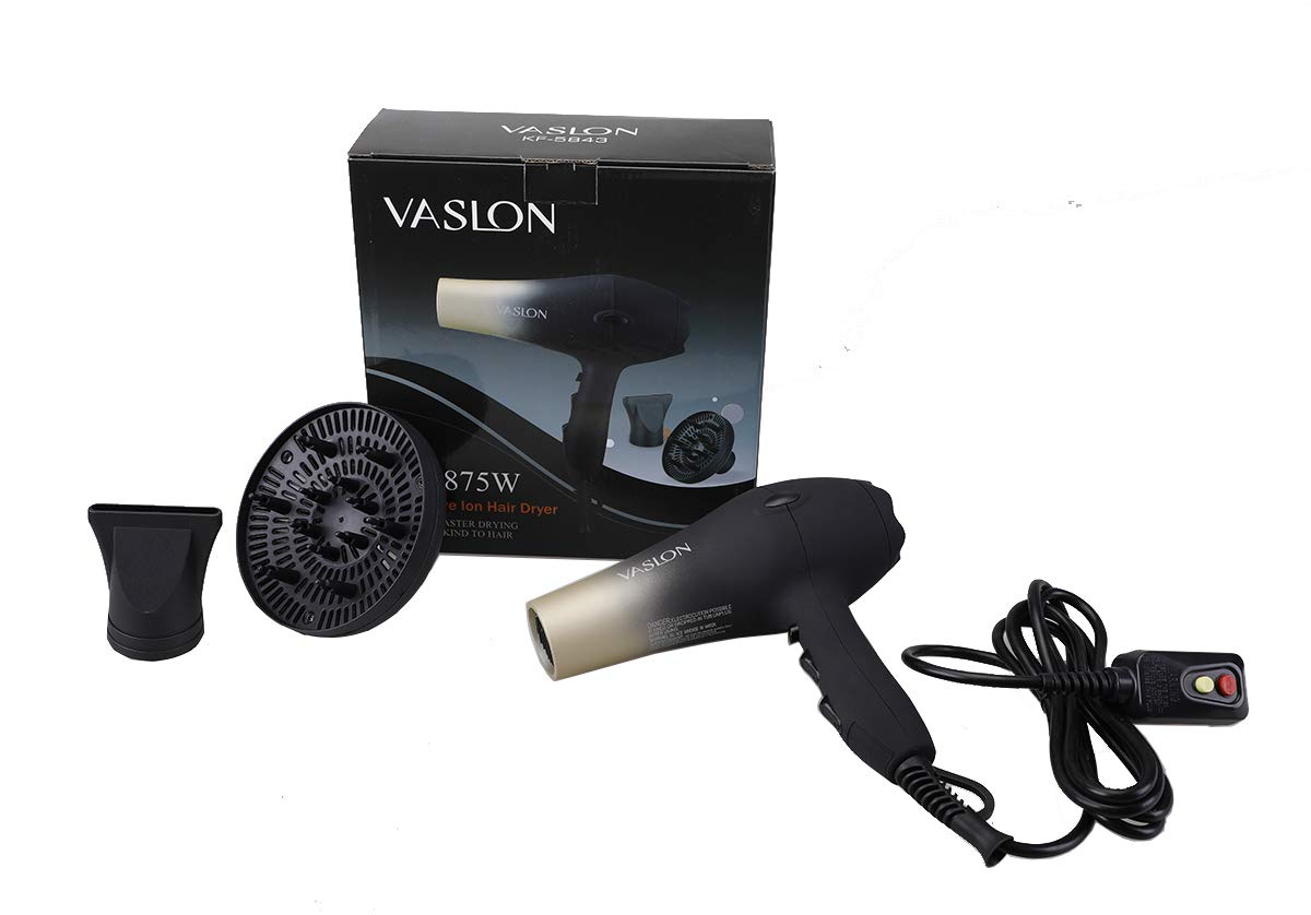 VASLON 1875W Quick-Dry Hair Dryer,Low Noise Negative Ionic Blow Dryer with Concentrators & Diffuser,2 Speed and 3 Heat Setting by VASLON (Image #7)