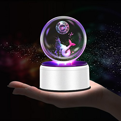 3D Crystal Ball Constellation Gift LED Lighting Astronomy Nebula 7 Colors Optical Illusion 3D Lamp Laser Engraving Valentine Children's Day (Capricorn)