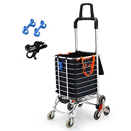 FKDECHE Shopping cart Climbing Stairs Cart Trolley Aluminum Alloy Household Groceries Shopping Baggage Load 35kg with 35L Bag and Elastic Rope Stable