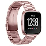 Aresh for Fitbit Versa Bands Solid Stainless Steel Versa Band Strap Replacement Metal Wristbands for Fitbit Versa Smartwatch (New Rose Gold)