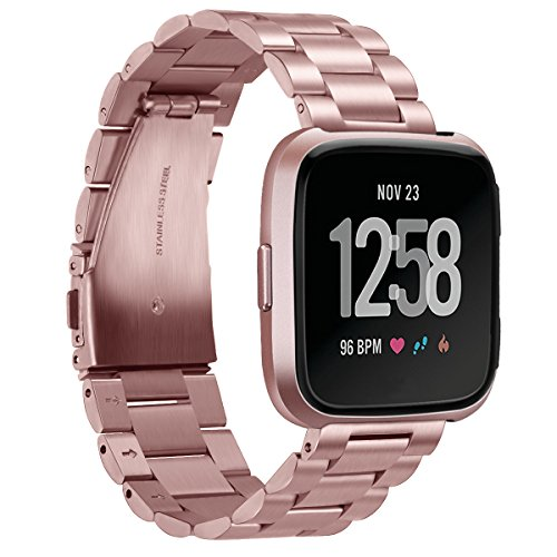 Aresh for Fitbit Versa Bands Solid Stainless Steel Versa Band Strap Replacement Metal Wristbands for Fitbit Versa Smartwatch (New Rose Gold) by Aresh