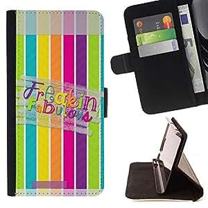 Momo Phone Case / Flip Funda de Cuero Case Cover - Líneas Fabulous Modelo en colores pastel - HTC One A9