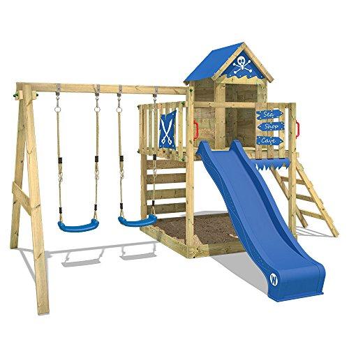 WICKEY Parque infantil de madera Smart Cave con columpio y tobogán azul, Casa de juegos de jardín con arenero y escalera…
