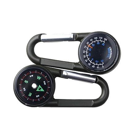 Leezo - Llavero termómetro de brújula 3 en 1 multifunción, Ligero, de Alta precisión, para Viajes, Caminar, Senderismo, Acampada al Aire Libre