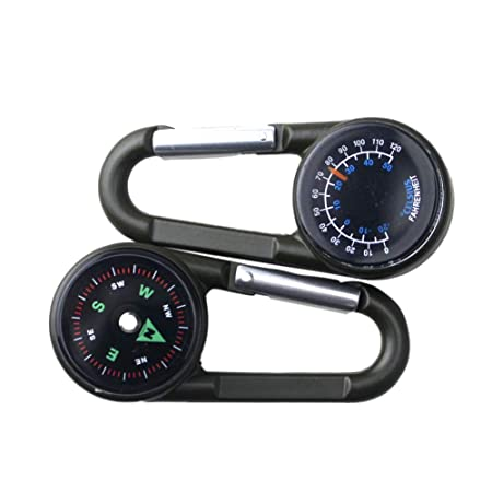Leezo 3-en-1 Mousqueton léger Multifonction Thermomètre de Boussole de Haute précision Anneau Porte-clés pour Voyager Randonnée Randonnée Camping en ...